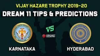 Dream11 Team Karnataka vs Hyderabad, Round 1, Elite Group A Vijay Hazare Trophy 2019 VHT ODD – Cricket Prediction Tips For Today's Match KAR vs HYD at Bangalore